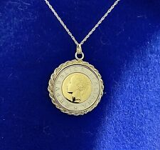 Italian 500 Lire Coin Necklace With Sterling Silver Roped Bezel