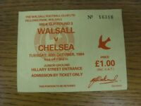 30/10/1984 Ticket: Walsall v Chelsea [Football League Cup] Yellow Ticket (folded