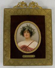 Daphne Antique Porcelain Hand Painted Miniature Plaque C.1890