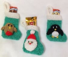 KNITTING PATTERN - Santa, penguin and robin Christmas stocking tree decoration