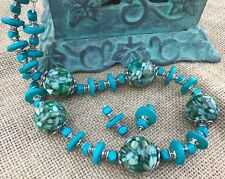 Necklace & Earring Set, Turquoise Colored Wood Beads and Large Round MOP/Resin