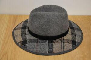 Ladies Barbour Hat Wool 100% Fedora Style Grey Winter Tartan Size L