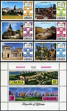 Liberia 557-562,C187 S/S, MNH.Olympics Munich. Munich views. Yachting races,1971