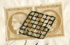 Paire n°1 Cérès 10c sur faire-part de mariage 1851, superbe, rare, signé Calves