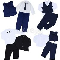Baby Toddler Kids Boy Wedding Christening Tuxedo Formal Suits Outfit Clothes