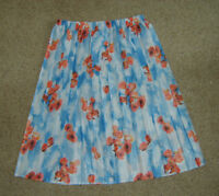 Ladies Knee Length Floral Print Rose Pattern Pleated Summer Skirt L Blue & Red