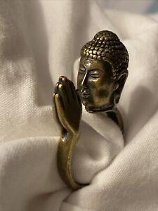 Beautiful Brass Praying Buddha Ring With Rhinestone Third Eye Size 8