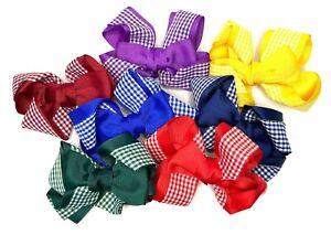 Girls Gingham Hair Bow Clips / Bobbles School Hair Accessories Girls Hair Bands