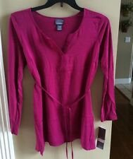 Oh Baby Maternity Burgandy Long Sleeve Blouse with Belt - Size Large- NWT