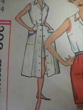 Vtg 60's Simplicity 2587 BUTTON-FRONT CLOSING GORED SKIRT Sewing Pattern Women