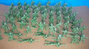 WWII U.S. Army 54mm figures X 66 in green from MPC vintage molds