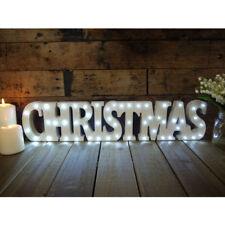 BRAND NEW WOODEN SOLID 53 LIGHT LED CHRISTMAS SIGN 60CM LONG (2FT)