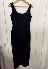 KENAR VINTAGE Solid Black Sleeveless Bodycon Full Length Gown Dress w/Slit Sz 4