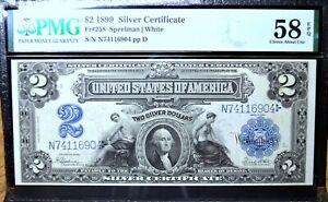 1899 $2 SILVER CERTIFICATE ✪ PMG CH-58-EPQ ✪ FR-258 MINI PORTHOLE AU ◢TRUSTED◣