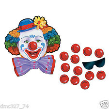CIRCUS CARNIVAL Birthday Party Game PIN THE NOSE ON THE CLOWN for 12 Guests