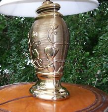 ANTIQUE SOLID BRASS BEE STRIPING FLORAL DESIGN LAMP 1920's Era