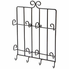 "Bard's Wall Mount Wrought Iron 4 Plate & 4 Saucer Display Hanger, 11"" W x 18.5""H"