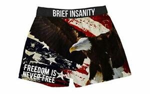 Brief Insanity Freedom is Never Free American Eagle Boxer Shorts Underwear 7030