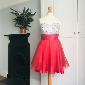 Vtg 90s Red Satin Netting Silver Sparkly Beaded Strapless Bustier Party Dress 12