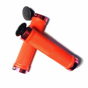 Lock On Handlebars Grips Red Rubber & Collars with Bar End Plugs