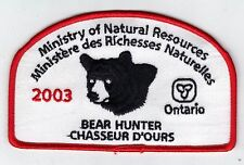 2003 ONTARIO MNR BEAR HUNTER PATCH-MICHIGAN DNR DEER-MOOSE-ELK-CREST-BADGE-FISH