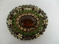 """VINTAGE MADE IN AUSTRIA SMOKEY AMBER BROWN GREEN CRYSTAL BROOCH PIN 2"""""""