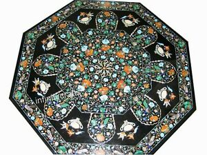"""70"""" Marble Dining Table Top Inlay Multi Color Gemstones Royal Look Hallway Table"""