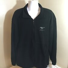 Ford Mustang Mens Full Zip Fleece Jacket XL Black Embroidered Logo USA Made FS!