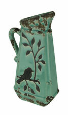 Turquoise Ceramic Crackle Glaze Vintage Finish Bird On Branch Decorative Pitcher
