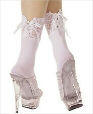 Lolita White Opaque Ankle High Hi Lace Top Corset Tie-Up Boot Socks Fashion USA