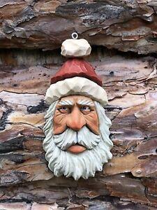 Santa Wood Carving Wizard Big Ooak Red Hat Elf Scott Longpre Originals #2