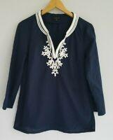 Talbots Women's Small Dark Navy Soutache Braid Embellished Tunic Top