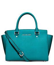 Michael Kors Selma medium tile blue leather satchel X