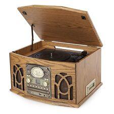 Itek USB Wood Nostalgic Music Radio CD Cassette Turntable Vinyl Record Player