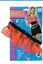 1980s 80s Neon Lace orange Garter Hen Wedding Night Disco Fancy Dress Accessory