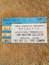 Ticket Stub Megadeth W/ Suicidal Tendencies @ Sam Huston Coliseum 12/11/1992 #42