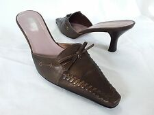 """ARTURO CHIANG - Women's Brown/Bronze Leather Mules/Slides, 2.5"""" heels - Size 8M"""