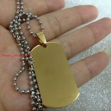 5pcs in bulk Dog Tag Pendant Necklace Stainless Steel 18k Gold Plated 20*40mm