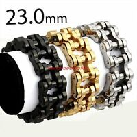 "9""22MM Cool Boy Mens Chain Silver 316L Stainless Steel Biker Motorcycle Bracelet"