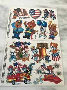 Patriotic July 4th Static Window Clings-Policeman Fireman Flags-2 Sheets-NEW