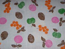"Vtg Cotton Fabric Fun Colorful Fruit Motif  43"" x 3.66 Yds"