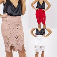 New Gorgeous Lace Scallop Patterned Floral Tight Pencil Stretch Midi Skirt 6-16