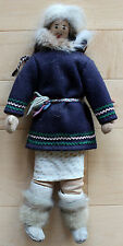 Vintage Eskimo / Inuit Traditional Art Doll Dressed With Fur 1950's Authentic
