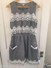 River Island Black White Stripe Lace Trim Summer Skater Sun Dress - Size 10