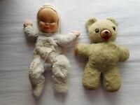 """Vintage Straw Stuffed Rubber Rose 12"""" Teddy Bear & Knickerbocker Zipper PJ Baby"""