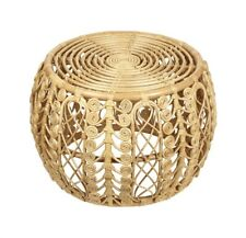 Natural Rattan Style Ottoman Coffee Side Table Small Wooden Stool Plant Display