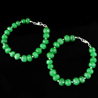 358.15 Cts Earth Mined Green Emerald Round Cut Beads Anklet Pair - Best Offer