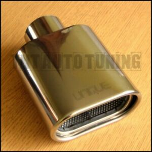 Chrome Stainless Steel Exhaust Tip - 56mm Tail Pipe Sports Trim Flat Oval Square