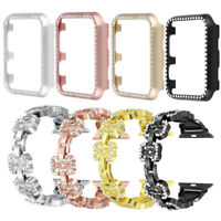 Metal Bling Watch Bands Straps Bumper Case for Apple Watch 38mm 42mm 40mm 44mm