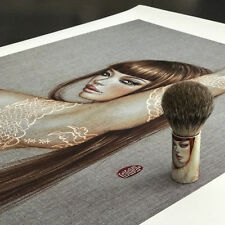 Coy Giclee Art Print + Shaving Brush Combo by Mimi Yoon Signed & Numbered Ed 100